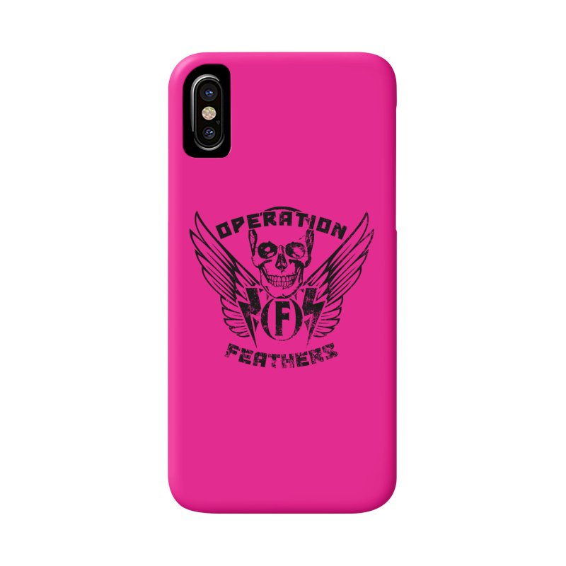 Operation Feathers Logo - Distressed Black on Deep Pink Accessories Phone Case by The Evocative Workshop's SFX Art Studio Shop