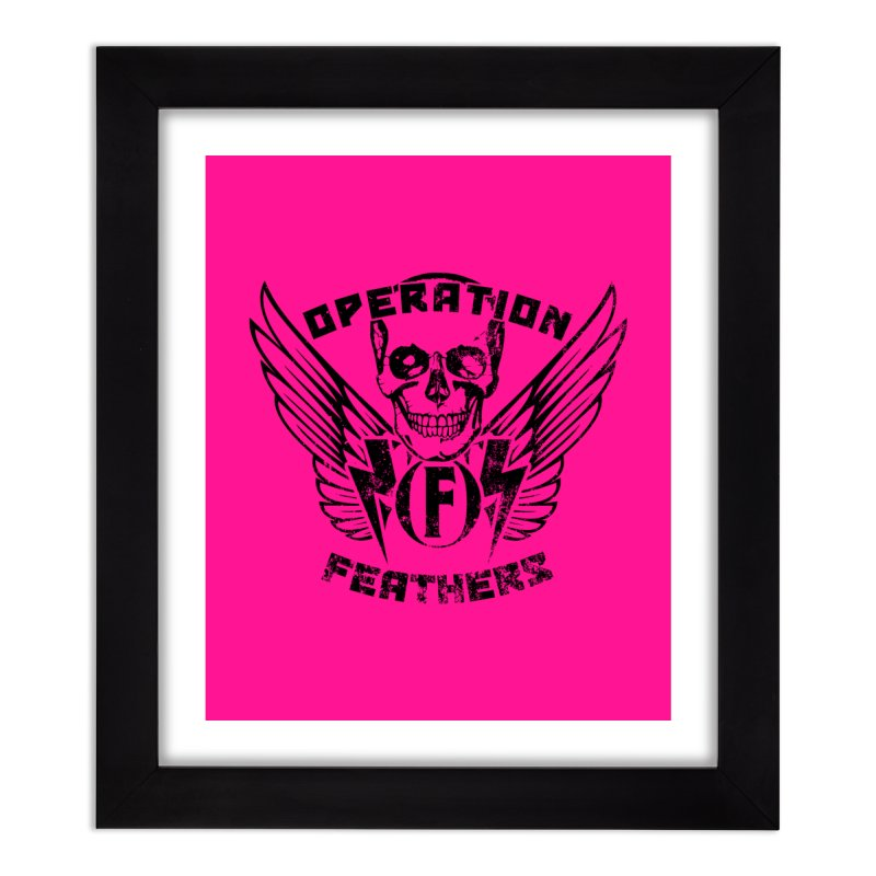 Operation Feathers Logo - Distressed Black on Deep Pink Home Framed Fine Art Print by The Evocative Workshop's SFX Art Studio Shop