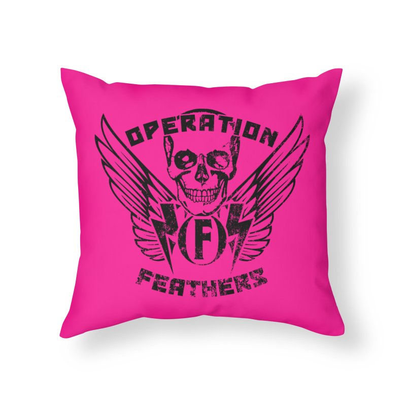 Operation Feathers Logo - Distressed Black on Deep Pink Home Throw Pillow by The Evocative Workshop's SFX Art Studio Shop