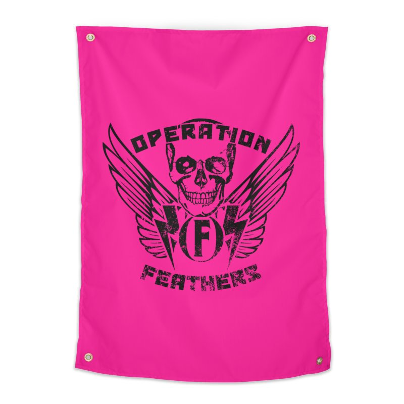 Operation Feathers Logo - Distressed Black on Deep Pink Home Tapestry by The Evocative Workshop's SFX Art Studio Shop