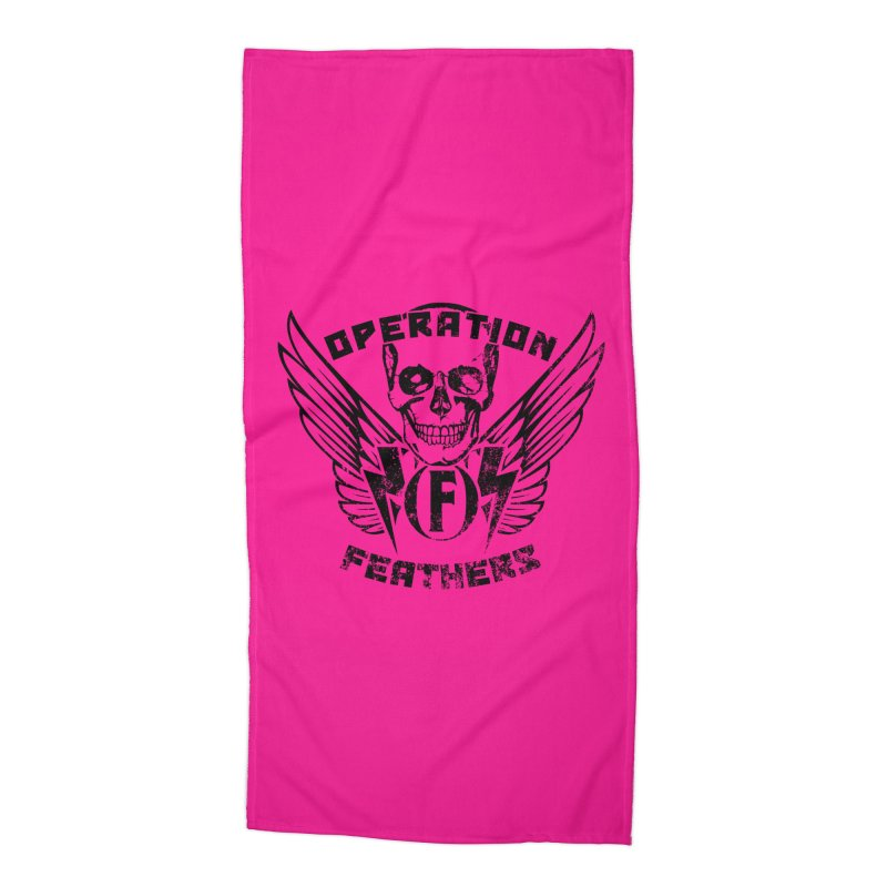 Operation Feathers Logo - Distressed Black on Deep Pink Accessories Beach Towel by The Evocative Workshop's SFX Art Studio Shop