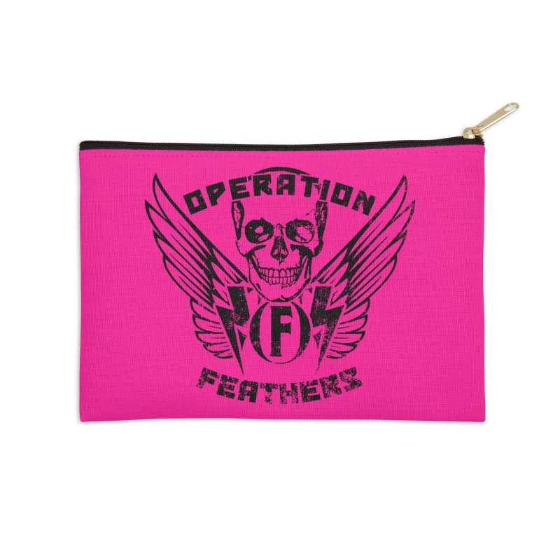 Operation Feathers Logo - Distressed Black on Deep Pink Accessories Zip Pouch by The Evocative Workshop's SFX Art Studio Shop