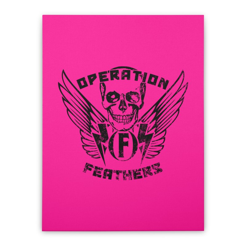 Operation Feathers Logo - Distressed Black on Deep Pink Home Stretched Canvas by The Evocative Workshop's SFX Art Studio Shop