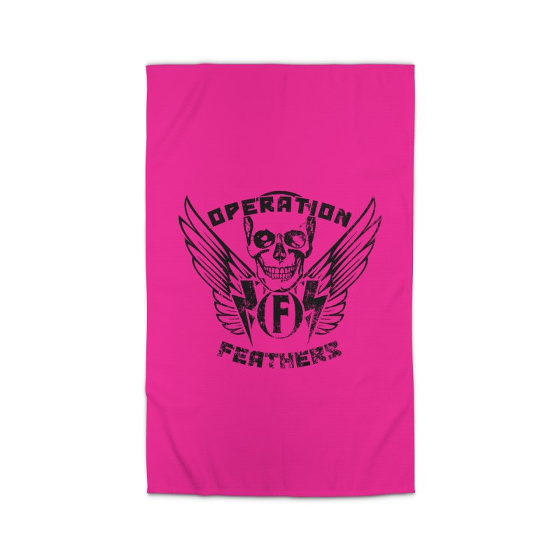 Operation Feathers Logo - Distressed Black on Deep Pink Home Rug by The Evocative Workshop's SFX Art Studio Shop