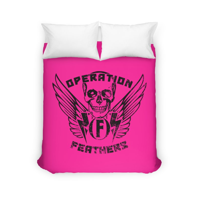 Operation Feathers Logo - Distressed Black on Deep Pink Home Duvet by The Evocative Workshop's SFX Art Studio Shop