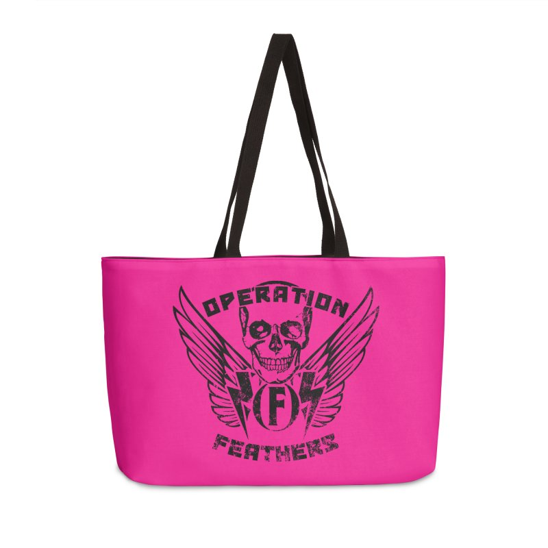 Operation Feathers Logo - Distressed Black on Deep Pink Accessories Weekender Bag Bag by The Evocative Workshop's SFX Art Studio Shop