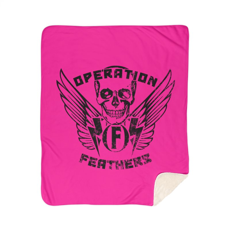 Operation Feathers Logo - Distressed Black on Deep Pink Home Sherpa Blanket Blanket by The Evocative Workshop's SFX Art Studio Shop