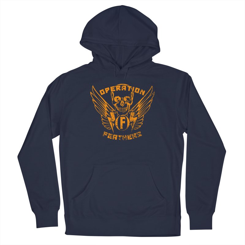 Operation Feathers Logo - Distressed Dark Orange on White Men's Pullover Hoody by The Evocative Workshop's SFX Art Studio Shop
