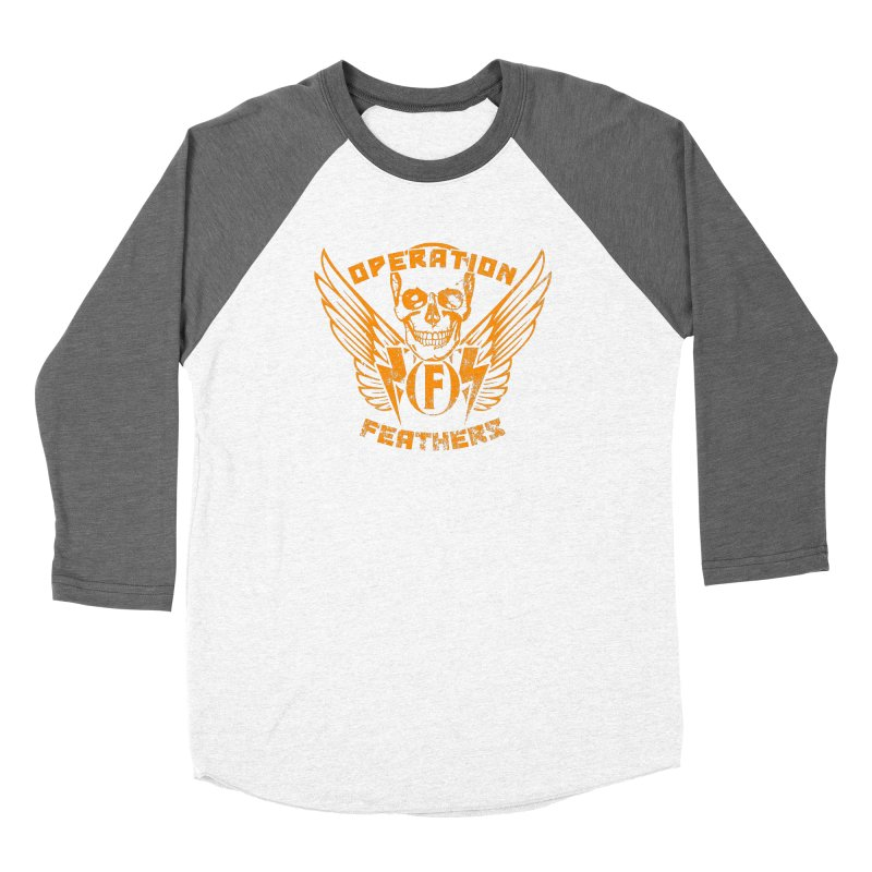 Operation Feathers Logo - Distressed Dark Orange on White Women's Baseball Triblend Longsleeve T-Shirt by The Evocative Workshop's SFX Art Studio Shop