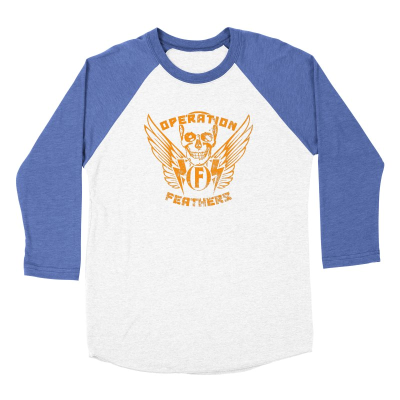 Operation Feathers Logo - Distressed Dark Orange on White Men's Baseball Triblend Longsleeve T-Shirt by The Evocative Workshop's SFX Art Studio Shop
