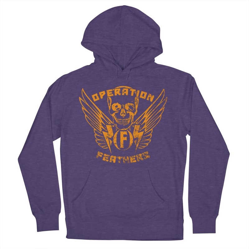 Operation Feathers Logo - Distressed Dark Orange on White Men's French Terry Pullover Hoody by The Evocative Workshop's SFX Art Studio Shop