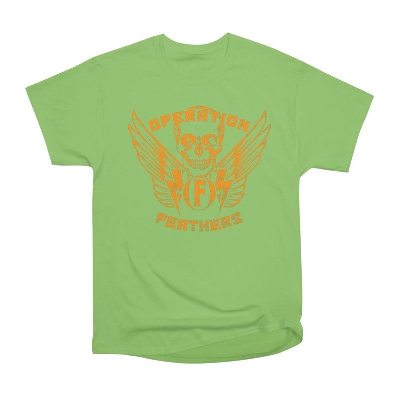 Operation Feathers Logo - Distressed Dark Orange on White Women's Heavyweight Unisex T-Shirt by The Evocative Workshop's SFX Art Studio Shop