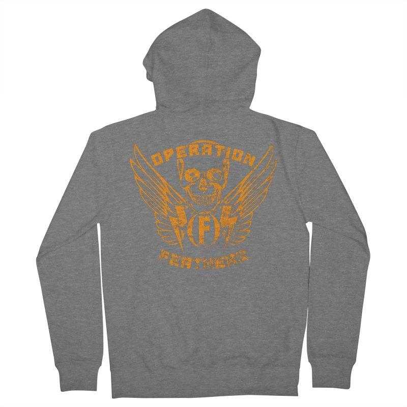 Operation Feathers Logo - Distressed Dark Orange on White Men's Zip-Up Hoody by The Evocative Workshop's SFX Art Studio Shop