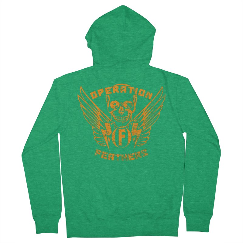 Operation Feathers Logo - Distressed Dark Orange on White Men's Zip-Up Hoody by The Evocative Workshop's SFX Art Studio Shop