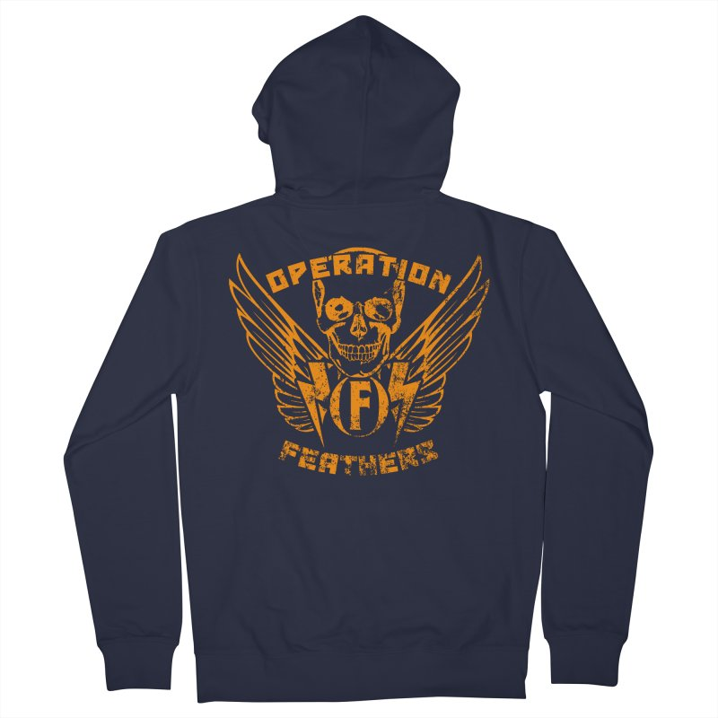 Operation Feathers Logo - Distressed Dark Orange on White Men's French Terry Zip-Up Hoody by The Evocative Workshop's SFX Art Studio Shop