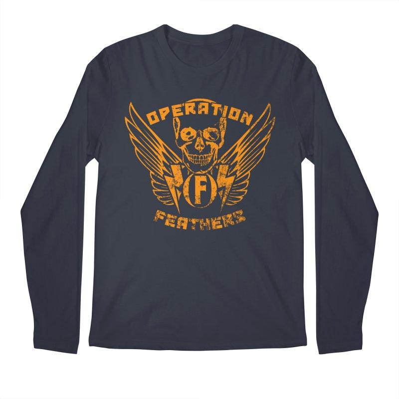 Operation Feathers Logo - Distressed Dark Orange on White Men's Longsleeve T-Shirt by The Evocative Workshop's SFX Art Studio Shop