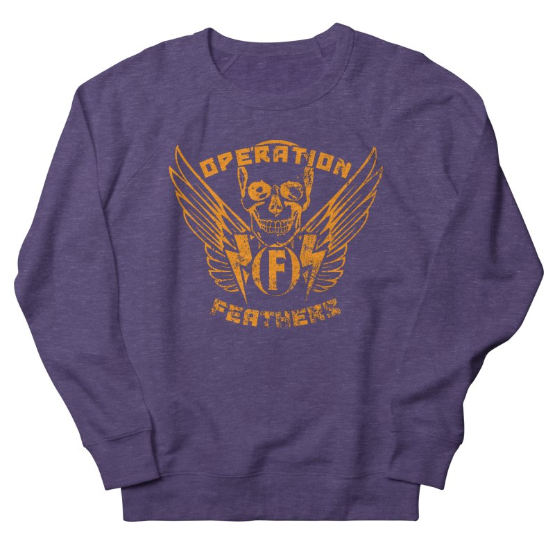 Operation Feathers Logo - Distressed Dark Orange on White Men's French Terry Sweatshirt by The Evocative Workshop's SFX Art Studio Shop