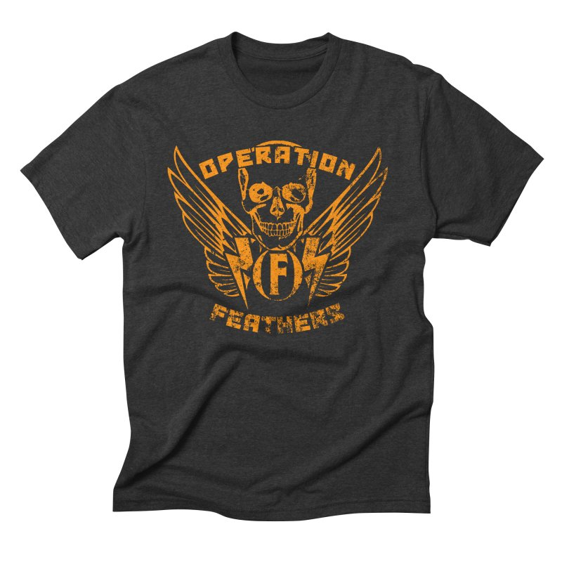 Operation Feathers Logo - Distressed Dark Orange on White Men's Triblend T-Shirt by The Evocative Workshop's SFX Art Studio Shop