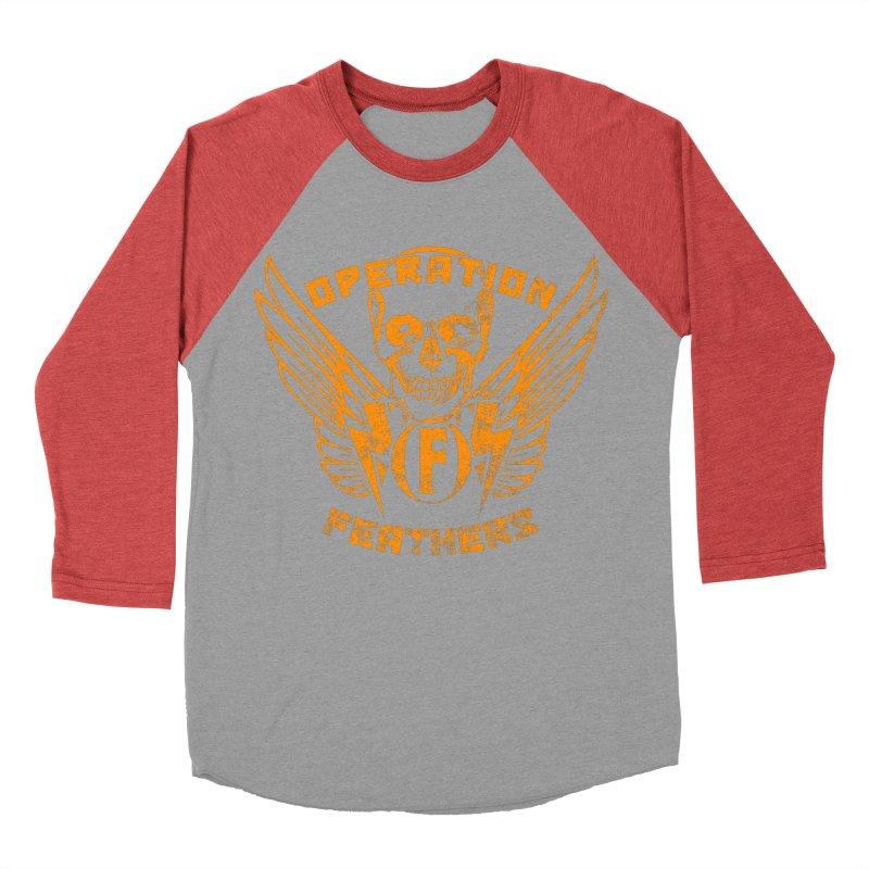 Operation Feathers Logo - Distressed Dark Orange on White Men's Baseball Triblend Longsleeve T-Shirt by The Evocative Workshop's SFX Art Studio Shop
