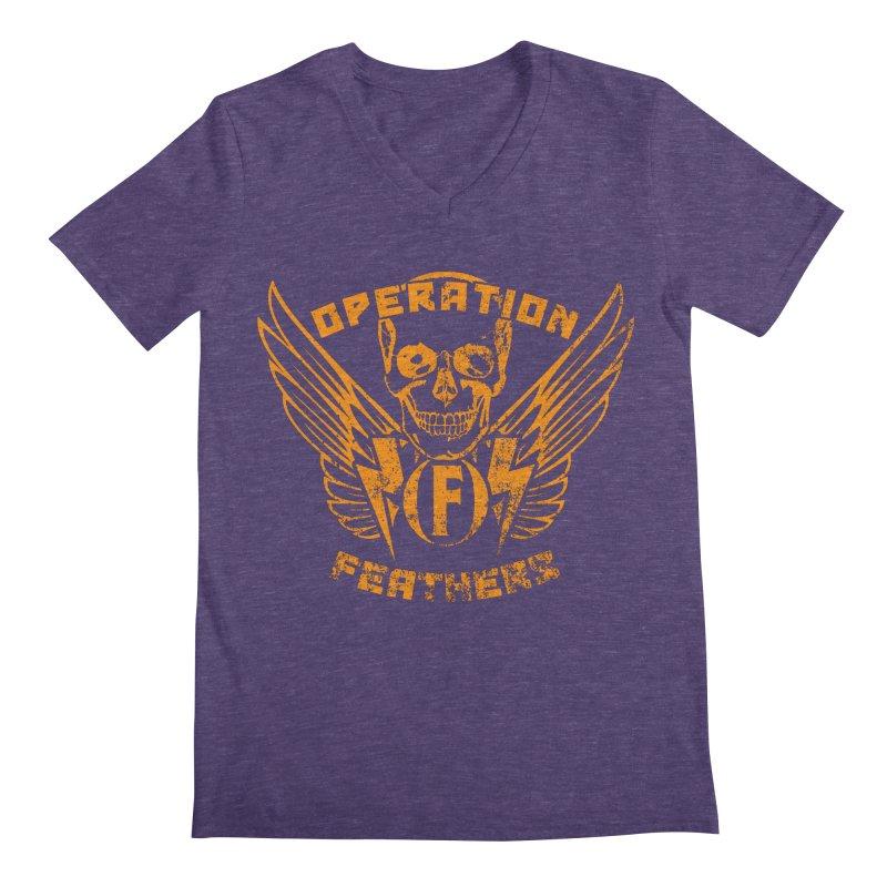 Operation Feathers Logo - Distressed Dark Orange on White Men's Regular V-Neck by The Evocative Workshop's SFX Art Studio Shop