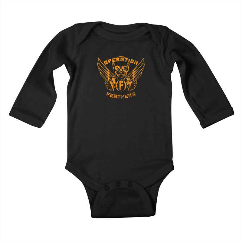 Operation Feathers Logo - Distressed Dark Orange on White Kids Baby Longsleeve Bodysuit by The Evocative Workshop's SFX Art Studio Shop
