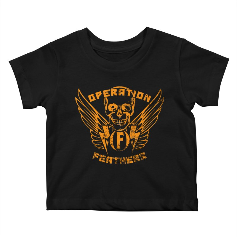 Operation Feathers Logo - Distressed Dark Orange on White Kids Baby T-Shirt by The Evocative Workshop's SFX Art Studio Shop
