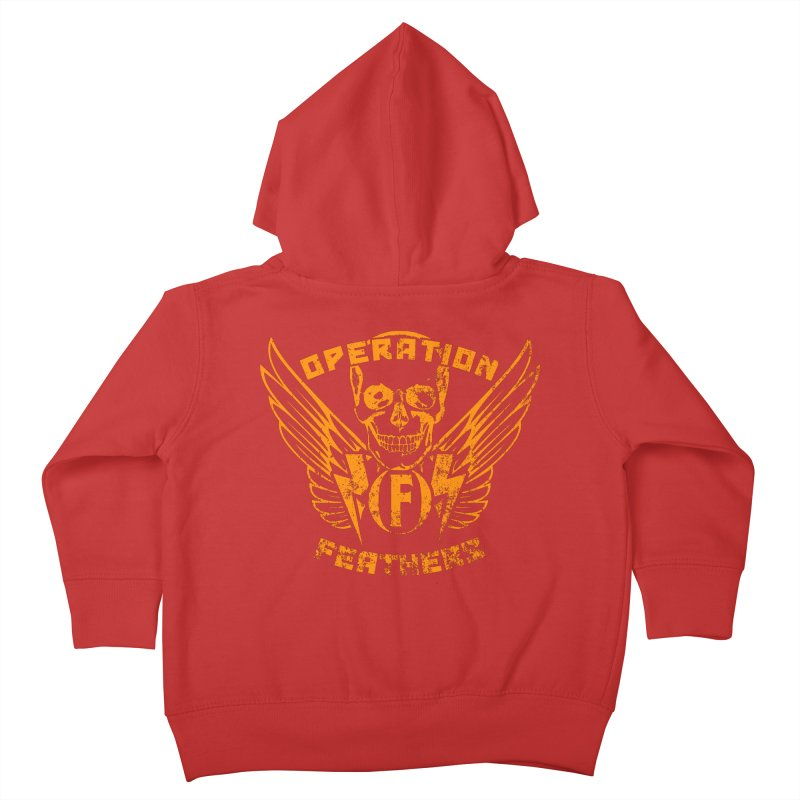 Operation Feathers Logo - Distressed Dark Orange on White Kids Toddler Zip-Up Hoody by The Evocative Workshop's SFX Art Studio Shop