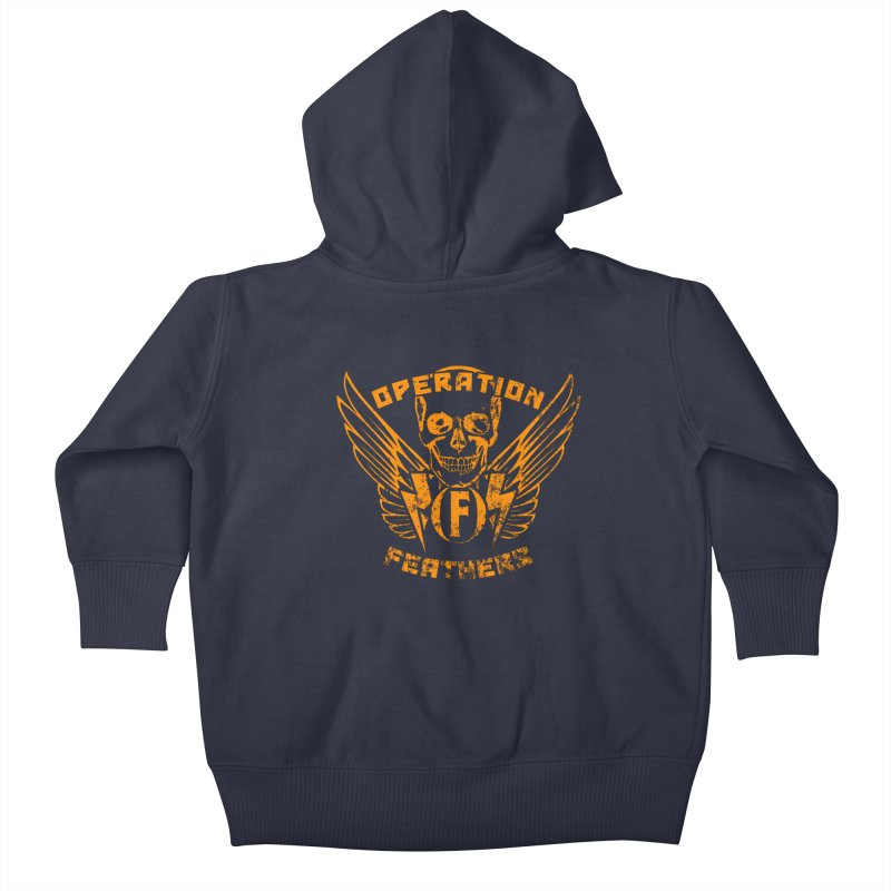 Operation Feathers Logo - Distressed Dark Orange on White Kids Baby Zip-Up Hoody by The Evocative Workshop's SFX Art Studio Shop