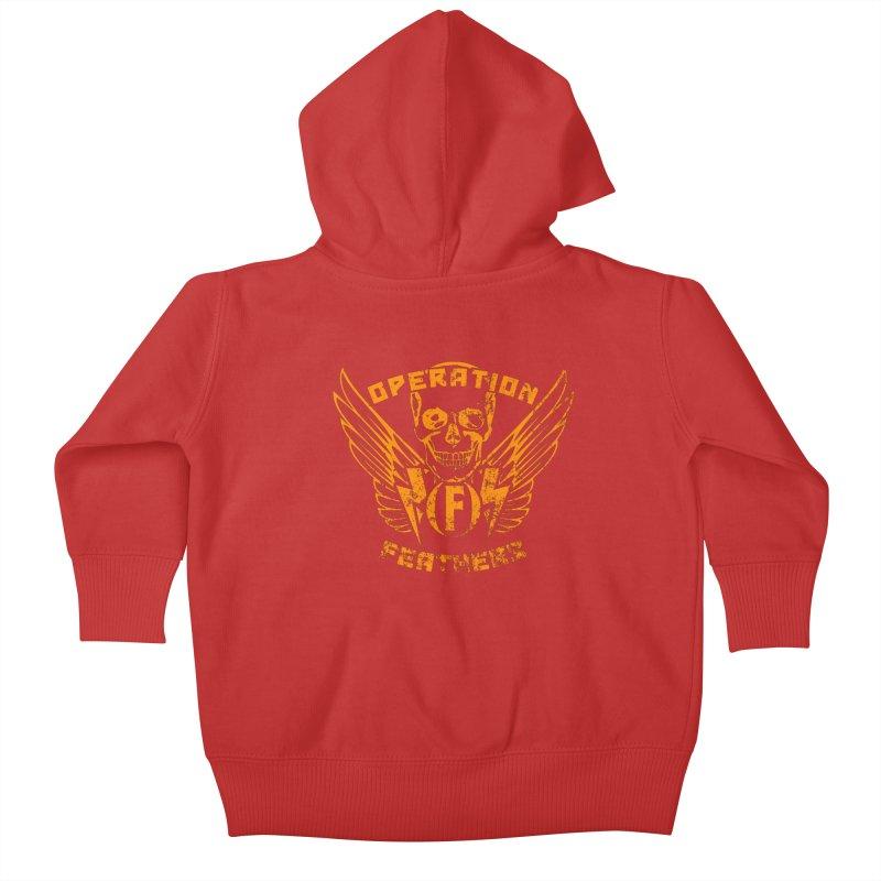 Operation Feathers Logo - Distressed Dark Orange on White Kids Baby Zip-Up Hoody by The Evocative Workshop's SFX Art Studio Shop