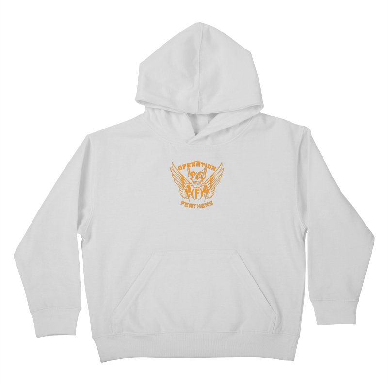 Operation Feathers Logo - Distressed Dark Orange on White Kids Pullover Hoody by The Evocative Workshop's SFX Art Studio Shop