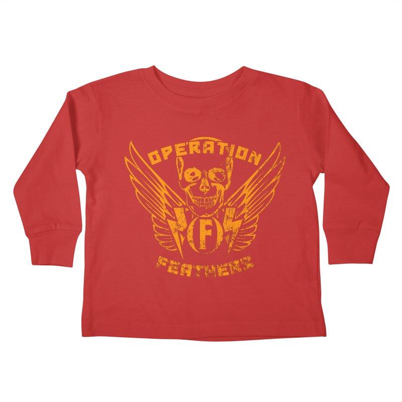 Operation Feathers Logo - Distressed Dark Orange on White Kids Toddler Longsleeve T-Shirt by The Evocative Workshop's SFX Art Studio Shop