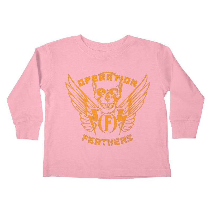Operation Feathers Logo - Distressed Dark Orange on White Kids Toddler Longsleeve T-Shirt by The Evocative Workshop's SFX Art Studio Shop