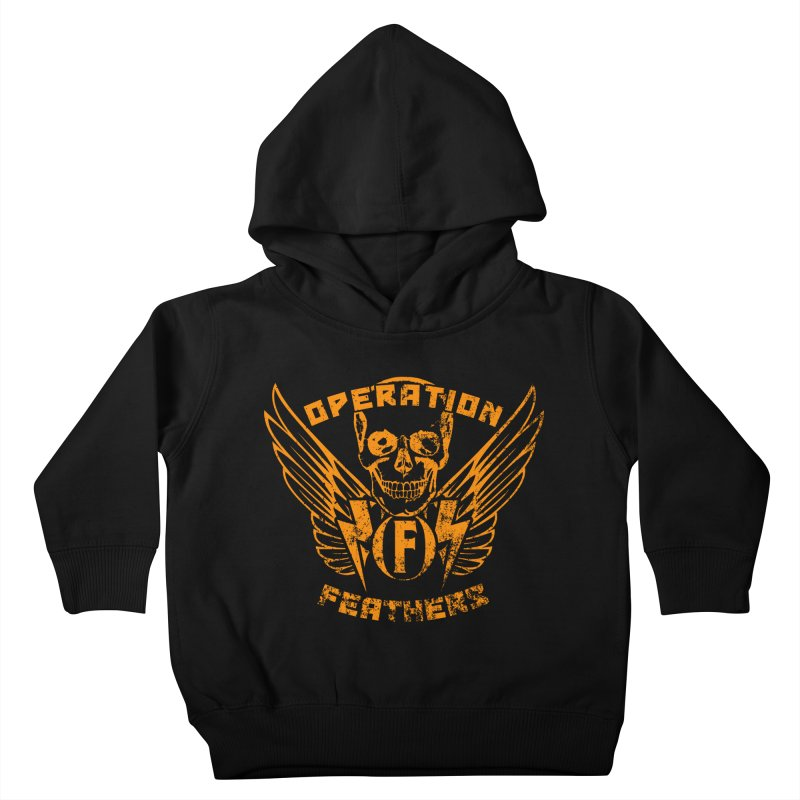 Operation Feathers Logo - Distressed Dark Orange on White Kids Toddler Pullover Hoody by The Evocative Workshop's SFX Art Studio Shop