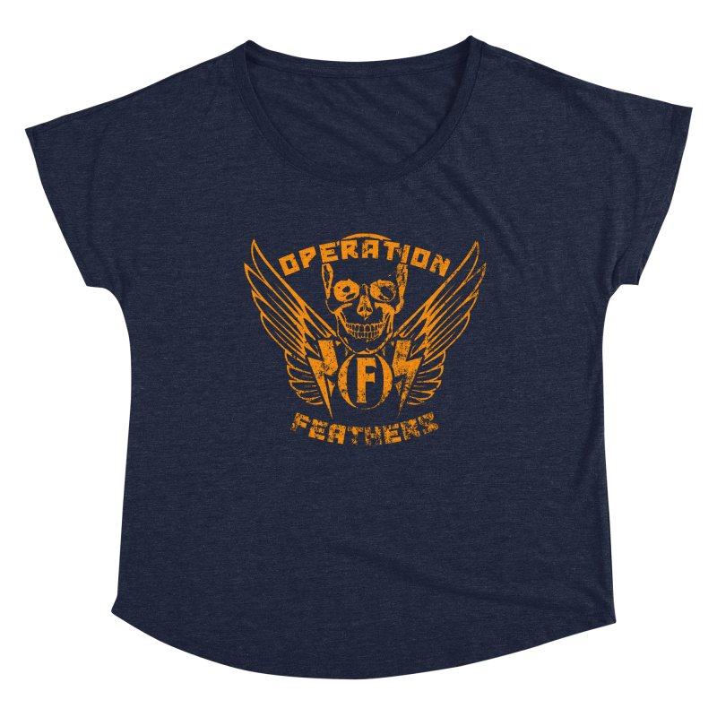 Operation Feathers Logo - Distressed Dark Orange on White Women's Scoop Neck by The Evocative Workshop's SFX Art Studio Shop