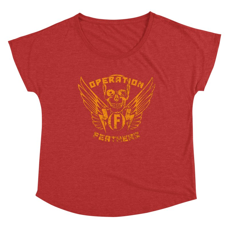 Operation Feathers Logo - Distressed Dark Orange on White Women's Dolman Scoop Neck by The Evocative Workshop's SFX Art Studio Shop