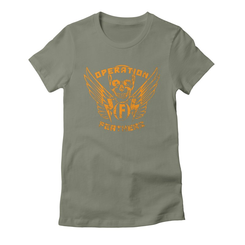 Operation Feathers Logo - Distressed Dark Orange on White Women's Fitted T-Shirt by The Evocative Workshop's SFX Art Studio Shop