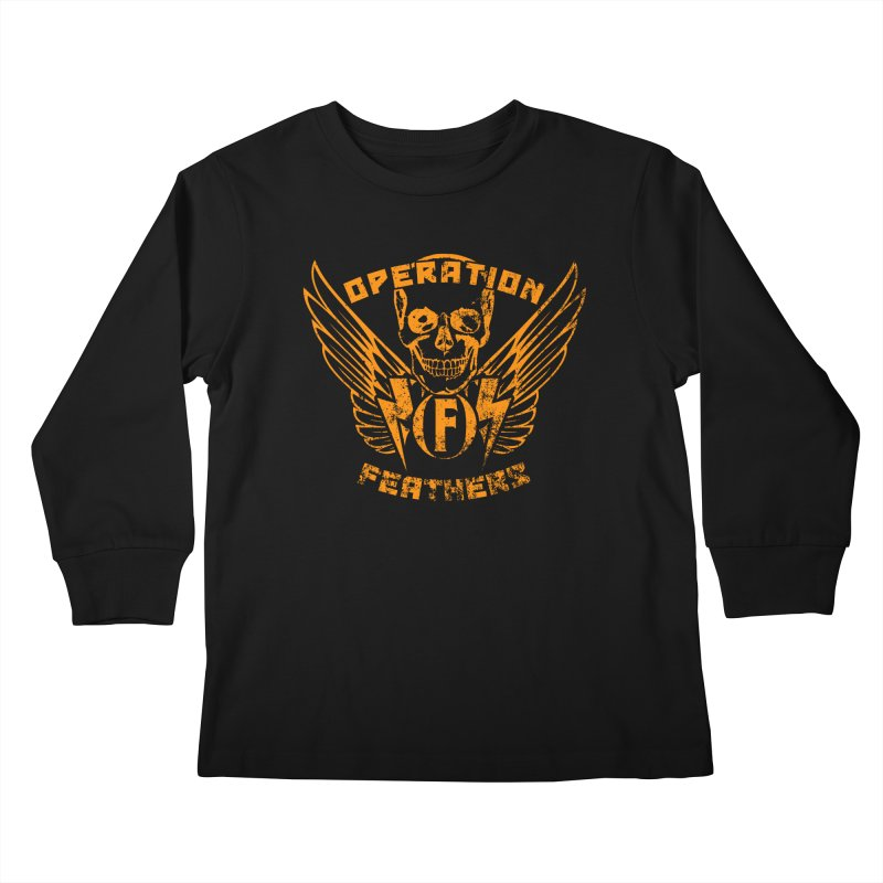 Operation Feathers Logo - Distressed Dark Orange on White Kids Longsleeve T-Shirt by The Evocative Workshop's SFX Art Studio Shop