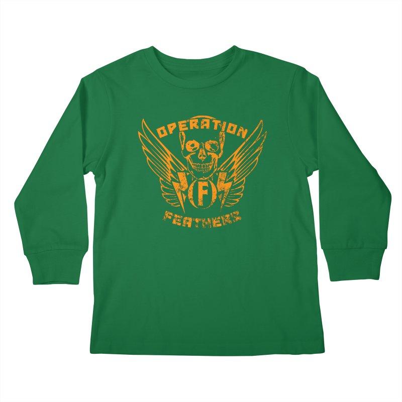 Operation Feathers Logo - Distressed Dark Orange on White Kids Longsleeve T-Shirt by The Evocative Workshop's SFX Art Studio Shop