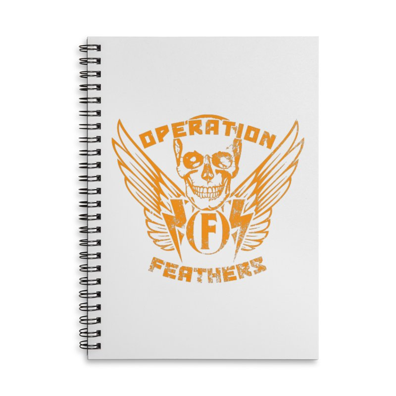 Operation Feathers Logo - Distressed Dark Orange on White Accessories Lined Spiral Notebook by The Evocative Workshop's SFX Art Studio Shop