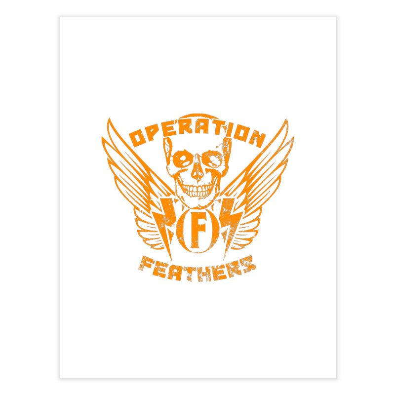 Operation Feathers Logo - Distressed Dark Orange on White Home Fine Art Print by The Evocative Workshop's SFX Art Studio Shop