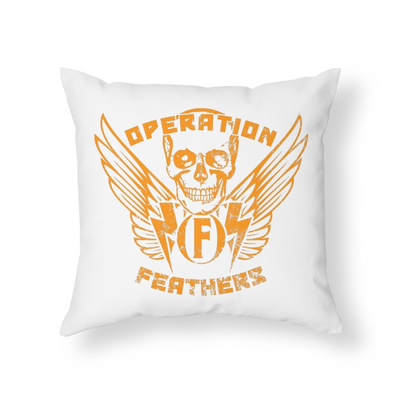 Operation Feathers Logo - Distressed Dark Orange on White Home Throw Pillow by The Evocative Workshop's SFX Art Studio Shop