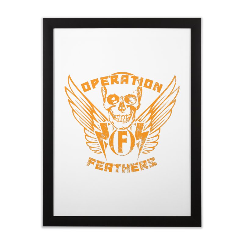 Operation Feathers Logo - Distressed Dark Orange on White Home Framed Fine Art Print by The Evocative Workshop's SFX Art Studio Shop