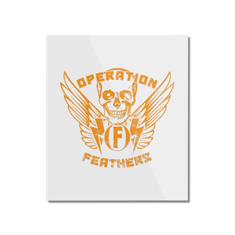 Operation Feathers Logo - Distressed Dark Orange on White Home Mounted Acrylic Print by The Evocative Workshop's SFX Art Studio Shop