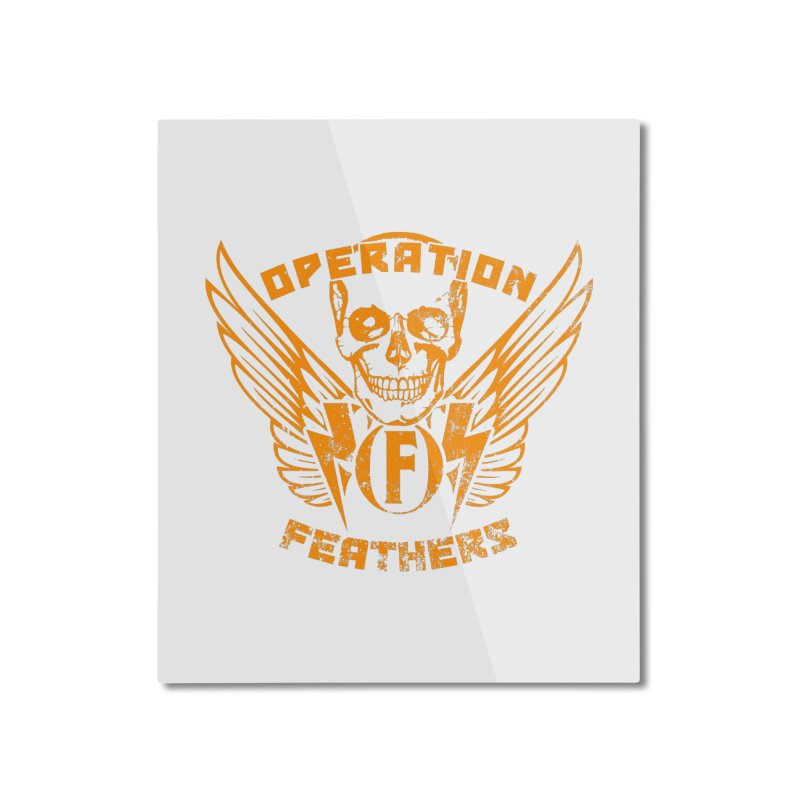 Operation Feathers Logo - Distressed Dark Orange on White Home Mounted Aluminum Print by The Evocative Workshop's SFX Art Studio Shop