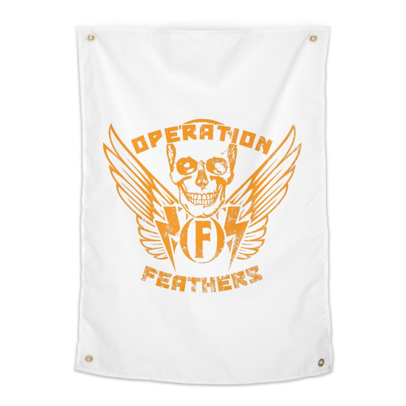 Operation Feathers Logo - Distressed Dark Orange on White Home Tapestry by The Evocative Workshop's SFX Art Studio Shop