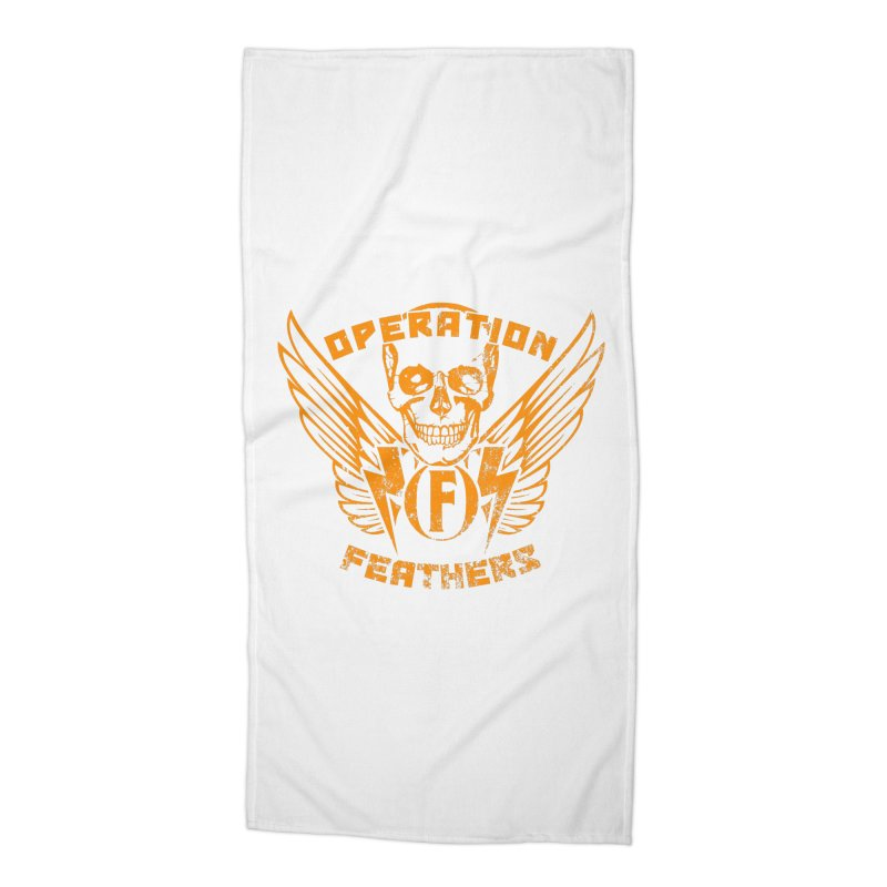 Operation Feathers Logo - Distressed Dark Orange on White Accessories Beach Towel by The Evocative Workshop's SFX Art Studio Shop