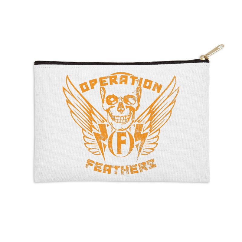 Operation Feathers Logo - Distressed Dark Orange on White Accessories Zip Pouch by The Evocative Workshop's SFX Art Studio Shop