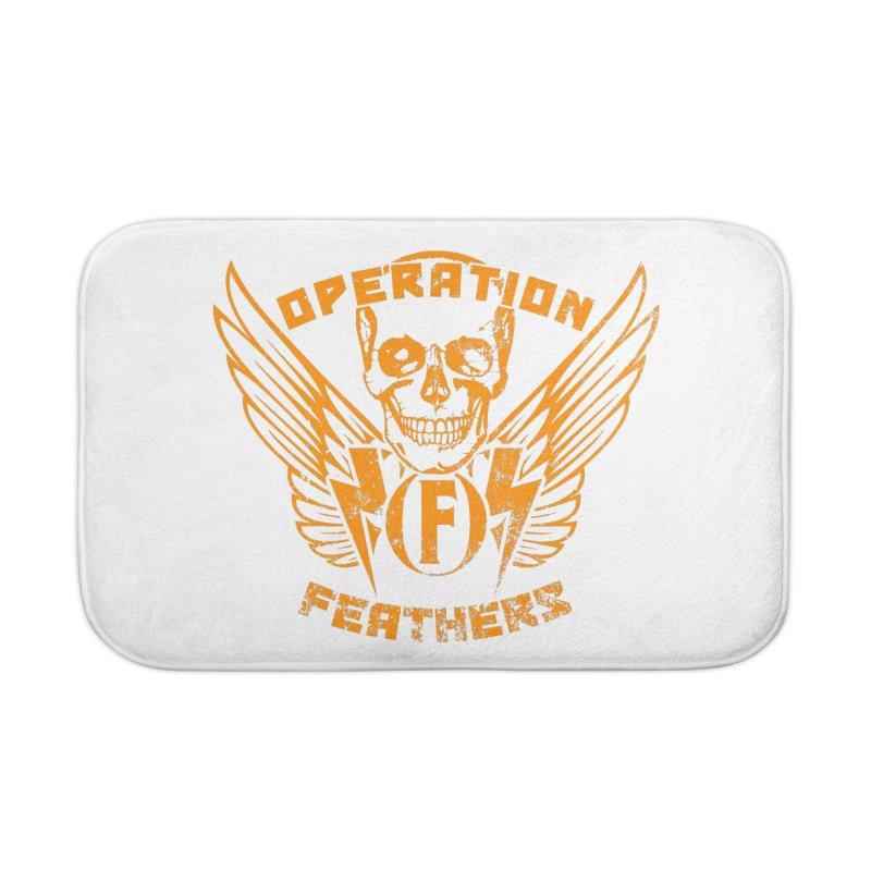 Operation Feathers Logo - Distressed Dark Orange on White Home Bath Mat by The Evocative Workshop's SFX Art Studio Shop