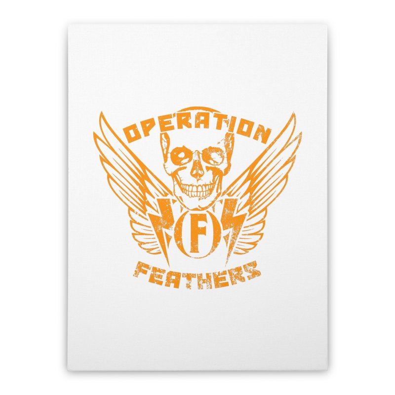 Operation Feathers Logo - Distressed Dark Orange on White Home Stretched Canvas by The Evocative Workshop's SFX Art Studio Shop