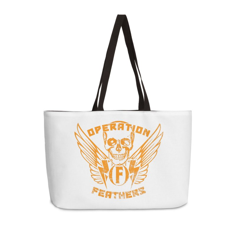 Operation Feathers Logo - Distressed Dark Orange on White Accessories Bag by The Evocative Workshop's SFX Art Studio Shop